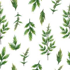 Panel Szklany Przyprawy Hand drawn watercolor seamless pattern of Mugwort.