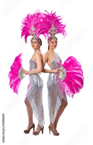 Montage in der Fensternische Karneval Beautiful Girls in carnival costume, isolated on white background.