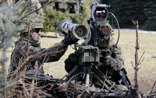 German Bundeswehr Armed Forces Soldiers With The 371st Armoured Infantry Battalion Take Position A MILAN