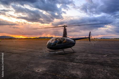 Poster Helicopter Robinson R44 Shutdown