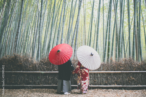 Printed kitchen splashbacks Kyoto 京都嵐山の竹林のカップル:couple in bamboo forest Kyoto