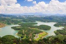 Tuyen Lam Lake Is A Man-made Lake In Da Lat City, Lam Dong, Vietnam. The Lake Has Eco Holiday Resort Among Green Pine Forest, Fresh Air, Pure Environment, Romantic Scene For Honeymoon At Da Lat