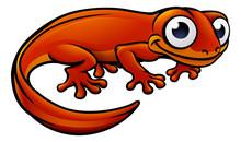 Newt Or Salamander Cartoon Character