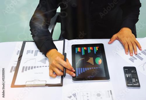 Businessman working at office  Digital tablet laptop