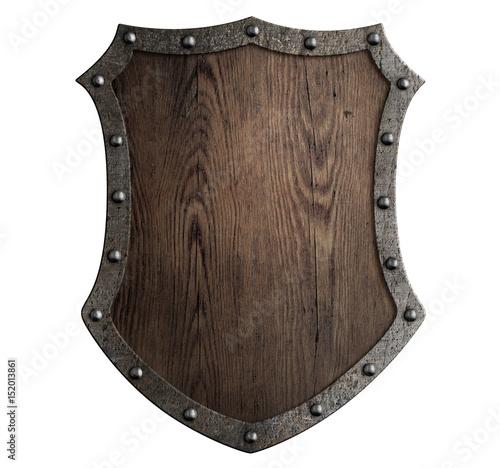 Fotografie, Obraz medieval wooden shield isolated 3d illustration