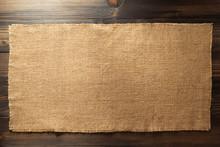 Hessian Burlap Napkin On Wood