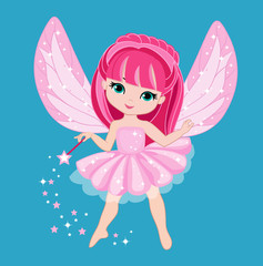 Beautiful little fairy with pink hair. Vector illustration isolated on turquoise background.
