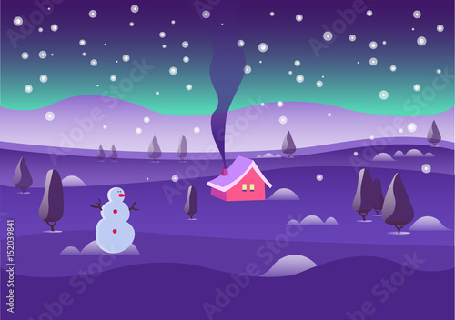 Spoed Foto op Canvas Violet Winter season. Christmas and New Year