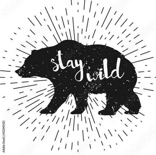 Ręcznie rysowane grunge niedźwiedź sylwetka z napisem pisma ręcznego