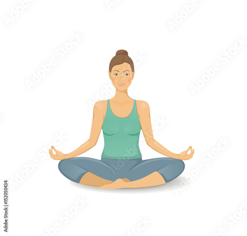Young Woman Practicing Yoga Icon Beautiful Women Icon In Yoga Pose Healthy Lifestyle Yoga Class Yoga Center Stretching Poster Relaxing And Calm Background Health Activity Buy This Stock Vector And Explore