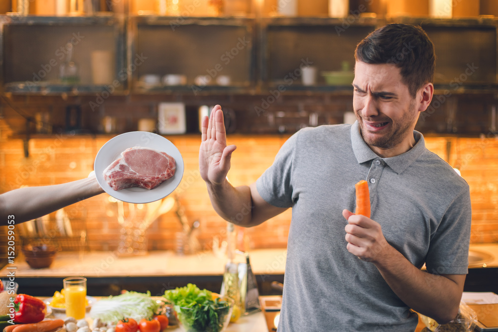 Fototapety, obrazy: Young Man Vegan No Meat Healthy Choice