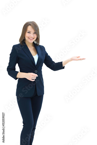 Fotografía  Smiling businesswoman showing open hand palm with copy space for