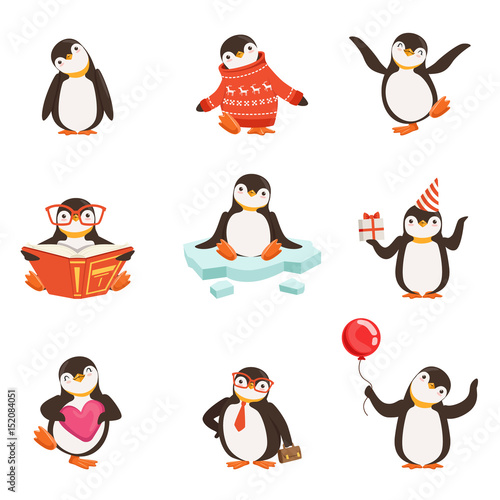 Valokuva  Cute little penguin cartoon characters set for label design