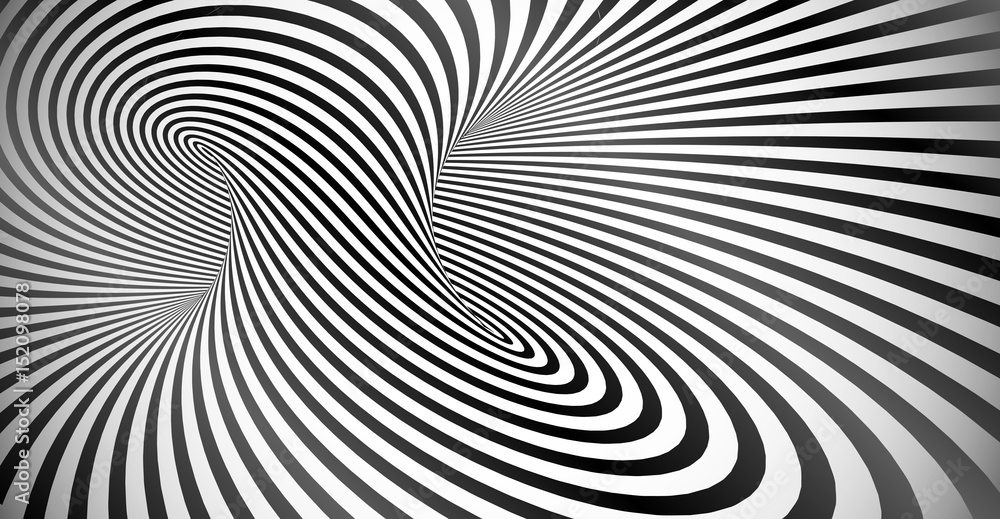 Fototapeta Vector optical illusion black and white twisted stripes background