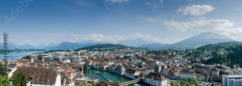 Photographie  Very large panoramic aerial view of Lucerne city, Switzerland