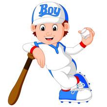 Illustration Of Boy Baseball P...