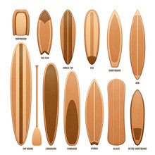 Wooden Surfboards Isolated On ...
