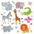 Cartoon cute african savanna animals vector set