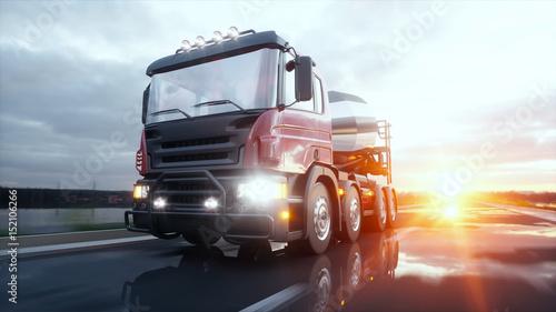 Betoniarka ciężarówka na autostradzie. Bardzo szybka jazda. Koncepcja budowy i transportu. 3d rendering.