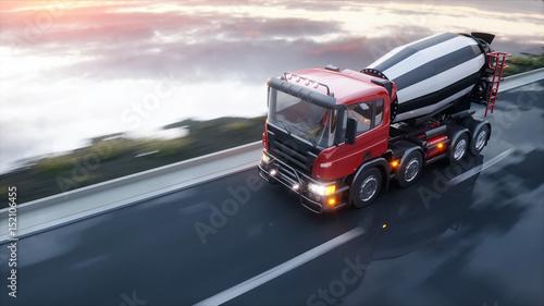 Plakat Betoniarka ciężarówka na autostradzie. Bardzo szybka jazda. Koncepcja budowy i transportu. 3d rendering.