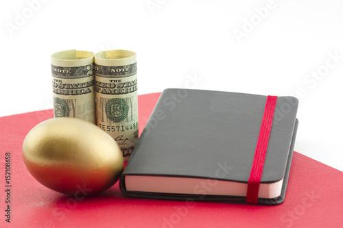 Fotografie, Obraz  Gold egg, dollars, red folder and journal reflect planned success