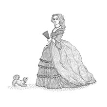 Vector Vintage Sketch Illustration Imitating Engraving. Gentlewoman Victorian Epoch 19th Century. The Lady In The Rich Lush Dress With Crinoline And Lace, Holding A Fan, With A Small Fluffy Lapdog.