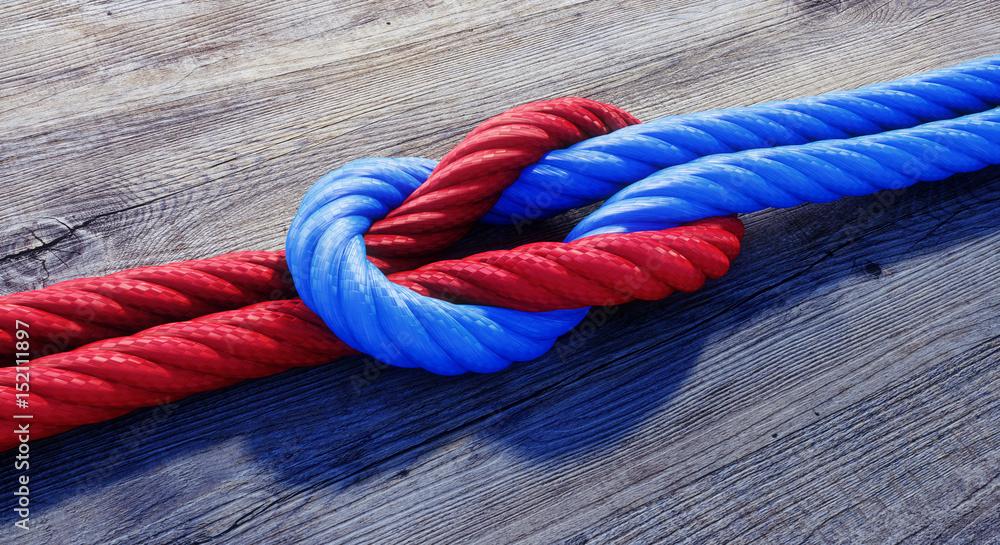 Fototapeta Kreuzknoten mit rotem und blauem Seil auf Holz