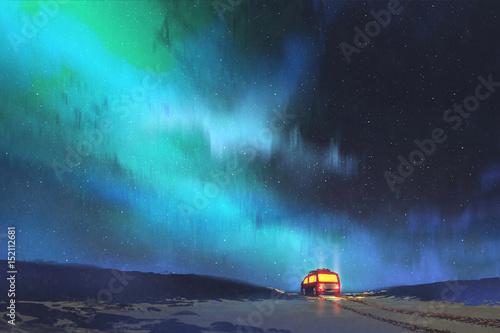 nocna sceneria samochodu zaparkowanego przez piękne gwiaździste niebo z cyfrowym stylem sztuki, malarstwo ilustracyjne