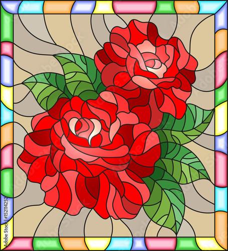 ilustracja-w-stylu-witrazu-z-kwiatow-i-lisci-czerwona-roza-na-brazowym-tle