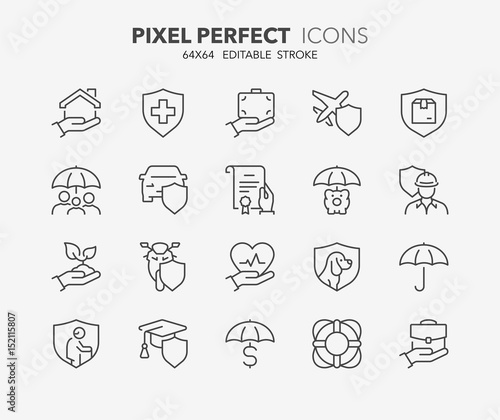 Fotografía  insurance concepts thin line icons