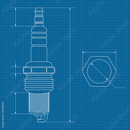Spark plug technical drawing on blueprint paper buy this stock technical drawing on blueprint paper malvernweather Images