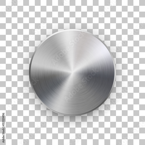 Photo Metal circle badge, blank button template with metallic texture, chrome, silver, steel and realistic shadow and transparent background for logo, design concepts, web, apps