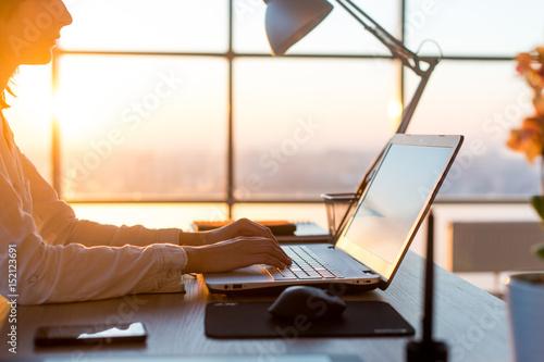 Valokuva  Female teleworker texting using laptop and internet, working online