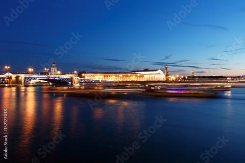 Keuken foto achterwand Noord Europa bridge in Saint Petersburg, Russia at night. Illumination and lights, dark blue sky