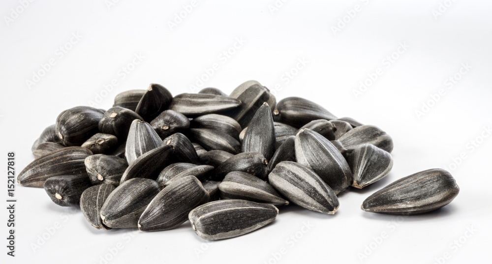 Fototapety, obrazy: Heap of sunflower seeds on the white background.