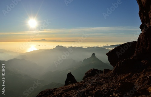 Papiers peints Iles Canaries Beautiful sunset from the mountain, summit of Gran canaria, Canary islands