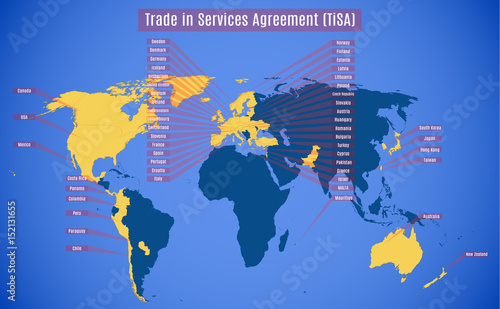 Vector Map Of Tisa Trade In Services Agreement Buy This Stock