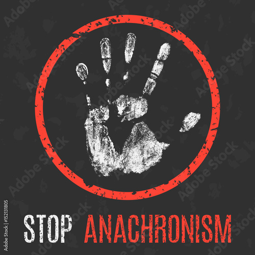 Vector illustration. Social problems. Stop anachronism. Wallpaper Mural