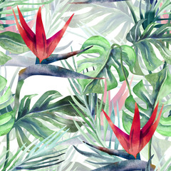 Panel Szklany Exotic Plant Seamless Pattern. Watercolor Background with Strelitzia Flowers.