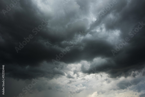 Aluminium Prints Heaven Dark sky and black clouds before rainy, Dramatic black cloud and thunderstorm