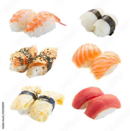 Photo  Set of japanese sushi pairs isolated on white background