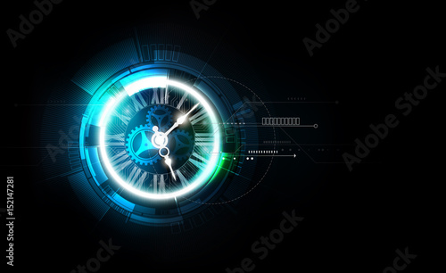 Fotografia Abstract Futuristic Technology Background with Clock concept and Time Machine, v