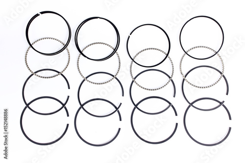 Spare Parts For Car Piston Rings On White Isolated New Original