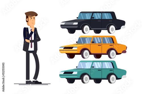 Garden Poster Cartoon cars design concept of choice car and buying.