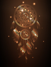 Dreamcatcher In Golden Gradient, Vector Illustration