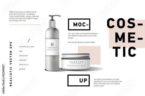 Fotografía  Realistic white cosmetic cream container