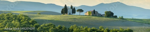 Fotobehang Toscane panorama with old chapel in morning light in Tuscany