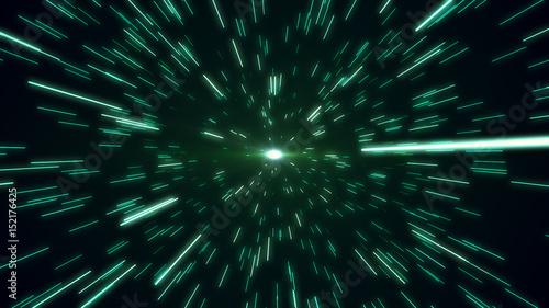 hyperspace star field zoom blur 3d illustration