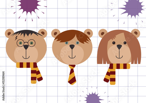 Photo  Teddy bears in Harry Potter, Ron Weasley and Hermione Granger disguise