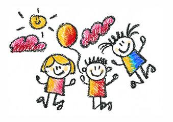 Fototapeta samoprzylepna Kids drawing Children education, school, kindergarten Play Study Learn Boys and Girls